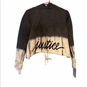 Justice Grey and White Tie Dye Hoodie